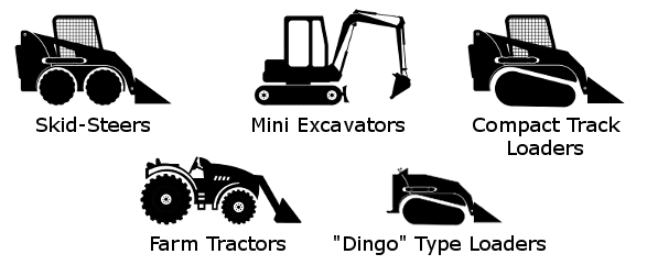 Skid-steers, mini excavators, compact track loaders, farm tractors, dingo type loaders