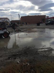 Draining a persistent parking lot pond